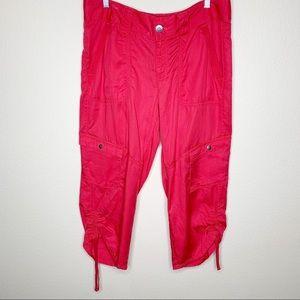 Athleta Capri Cargo Ruched Botyom Pants Sz 12